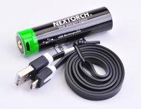 Nextorch 3400mAh 18650 (USB) Akku